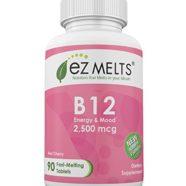 EZ Melts Vitamin B12, 2,500 mcg, Fast Melting Tablets, Energy Vitamin Supplement