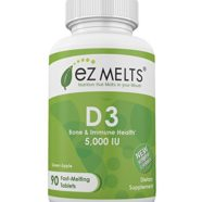 EZ Melts Vitamin D3, 5,000 IU, Fast Melting Tablets, Bone Health Vitamin Supplement