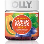 OLLY Women's Super Foods Multi-Vitamin Gummy Supplements, Lively Elderberry, 60 Count