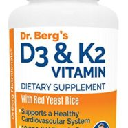 Dr. Berg's Vitamin D3 & K2 Supplement with Red Yeast Combination – Vitamin D & K2 for Strong Bones and a Healthy Heart – 10,000 IU of Vitamin D3 & 100 mcg of Vitamin K2 MK-7 – 120 Veggie Capsules