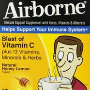 Airborne Immune Support Supplement with Vitamin C, Hot Soothing Mix, Natural Honey Lemon, 10 Count
