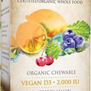 Garden of Life Vitamin D3 – mykind Vegan Organic D Vitamin Whole Food Supplement for Immune and Bone Health, 2000 IU, Raspberry Lemon, 30 Chewable Tablets