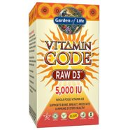 Garden of Life Raw D3 Supplement – Vitamin Code Whole Food Vitamin D3 5000 IU, Dairy and Gluten Free, Vegetarian, 60 Capsules