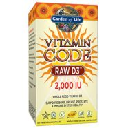 Garden of Life D3 – Vitamin Code Whole Food Raw D3 Vitamin Supplement, 2000 IU, Dairy and Gluten Free, Vegetarian, 120 Capsules